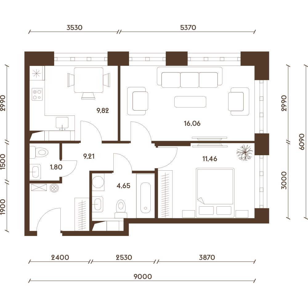 Квартира с двумя санузлами (двухкомнатная)